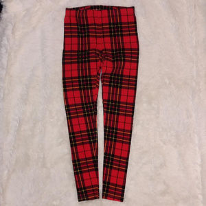 Forever 21 Red Plaid Leggings